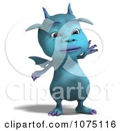 Clipart Blue Devil Dragon Waving Royalty Free CGI Illustration by Ralf61
