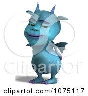 Clipart Blue Devil Dragon Grinning 3 Royalty Free CGI Illustration by Ralf61