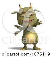 Clipart Green Devil Dragon Waving Royalty Free CGI Illustration by Ralf61