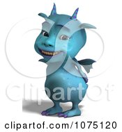 Clipart Blue Devil Dragon Grinning 2 Royalty Free CGI Illustration by Ralf61