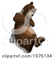 Clipart 3d Bear Resting Against A Boulder Royalty Free CGI Illustration