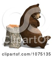 Clipart 3d Bear Resting Against A Stump Royalty Free CGI Illustration