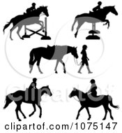Clipart Silhouetted Horses And Equestrian Girls Royalty Free Vector Illustration