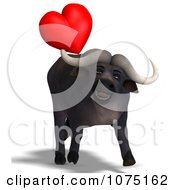 Clipart 3d Water Buffalo With A Heart On His Horn Royalty Free CGI Illustration