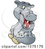 Clipart Happy Gray Hippo Sitting Royalty Free Vector Illustration by dero