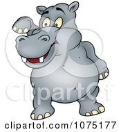 Happy Gray Hippo Standing And Waving
