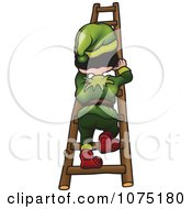 Clipart Gnome Climbing A Ladder Royalty Free Vector Illustration by dero