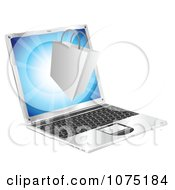 Clipart 3d Shopping Bag Floating Over A Laptop Computer Royalty Free Vector Illustration by AtStockIllustration