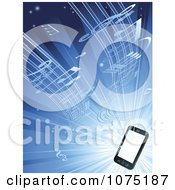 Clipart Music Streaming From A 3d Smart Cell Phone Over Blue Royalty Free Vector Illustration