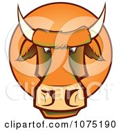 Clipart Mad Orange Bull Cow Face Logo Royalty Free Vector Illustration