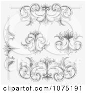 Clipart Ornate Etched Victorian Flourish Borders Rules And Design Elements Royalty Free Vector Illustration by vectorace