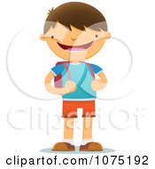 Clipart Happy Smiling School Boy With A Backpack Royalty Free Vector Illustration