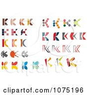 Clipart Colorful Abstract Letter K Logos Royalty Free Vector Illustration