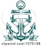 Clipart Teal Nautical Anchor And Banner Logo Royalty Free Vector Illustration