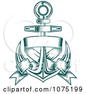 Clipart Teal Nautical Anchor And Blank Banner Logo Royalty Free Vector Illustration