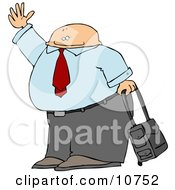 Traveling Businessman With Rolling Luggage Waving Goodbye Or Hailing A Taxi Cab Clipart Illustration by djart