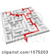 Poster, Art Print Of 3d White Maze With A Red Arrow Guide