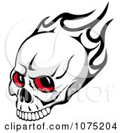 Clipart Red Eyed Skull And Black Flames Royalty Free Vector Illustration