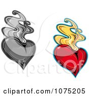 Clipart Flaming Red And Grayscale Hearts Royalty Free Vector Illustration