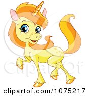 Clipart Cute Golden Baby Unicorn Prancing Royalty Free Vector Illustration