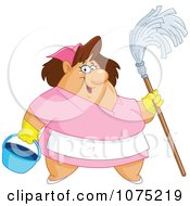 Clipart Friendly Chubby Maid Holding A Mop And Bucket Royalty Free Vector Illustration