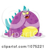 Clipart Chubby Mean Purple Monster Royalty Free Vector Illustration by yayayoyo