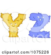 Clipart Plush Alphabet Letters Y And Z Royalty Free Vector Illustration