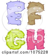 Clipart Plush Alphabet Letters E Through H Royalty Free Vector Illustration