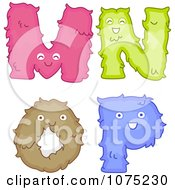 Clipart Plush Alphabet Letters M Through P Royalty Free Vector Illustration