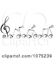 Clipart Black Swirly Music Notes Royalty Free Vector Illustration