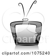 Clipart Black Swirly Retro TV Icon And Reflection Royalty Free Vector Illustration
