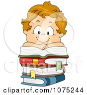 Clipart Happy White School Boy Resting On A Pile Of Books Royalty Free Vector Illustration