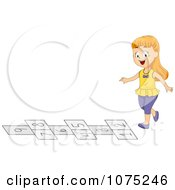 Clipart School Girl Playing Hop Scotch On The Playground At Recess Royalty Free Vector Illustration