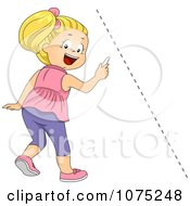 Clipart School Girl Drawing A Diagonal Line Royalty Free Vector Illustration