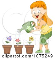 Clipart School Girl Watering Potted Flowers Royalty Free Vector Illustration by BNP Design Studio
