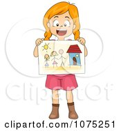 Happy School Girl Sharing A Drawing Of Her Family