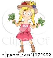 Clipart Healthy Girl Holding Fresh Picked Spinach Royalty Free Vector Illustration