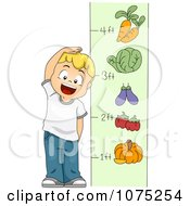 Clipart School Boy Measuring His Height Royalty Free Vector Illustration