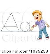 School Boy Writing Abc