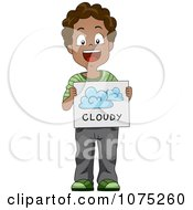 Clipart Black School Boy Holding A Cloudy Weather Flash Card Royalty Free Vector Illustration