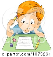 Clipart Stumped School Boy Taking An Exam Test Royalty Free Vector Illustration