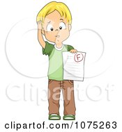 Clipart Stumped School Boy Holding A Failed Paper With An F Grade Royalty Free Vector Illustration