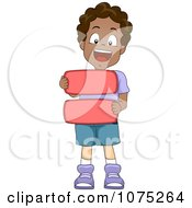 Clipart Happy Black School Boy Holding An Equals Math Symbol Royalty Free Vector Illustration