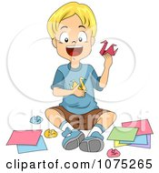 Clipart Happy School Boy Making Origami Swans In Art Class Royalty Free Vector Illustration