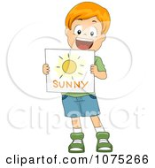 Clipart White School Boy Holding A Sunny Weather Flash Card Royalty Free Vector Illustration