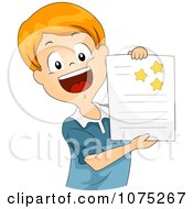 Clipart Proud School Boy Showing Off His Gold Stars Royalty Free Vector Illustration