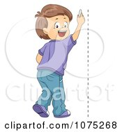 Clipart School Boy Drawing A Vertical Line Royalty Free Vector Illustration