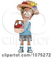 Clipart Black School Boy Holding A Basket Of Apples Royalty Free Vector Illustration