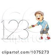 Clipart School Boy Writing 123 Royalty Free Vector Illustration