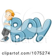 Clipart Proud Kid Leaning Against BOY Royalty Free Vector Illustration by BNP Design Studio
